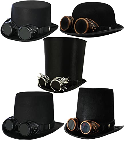 Adults Victorian Style Steampunk Themed Hats with Goggles Black Felt Top Hat w/ Black Satin Band plus Silver Goggles 15 cm Tall Top Hat - Fits Up To 58 cm Heads Goggles Come With One Pair Of Black Lenses And One Pair Of Transparent Lenses That Can Be...