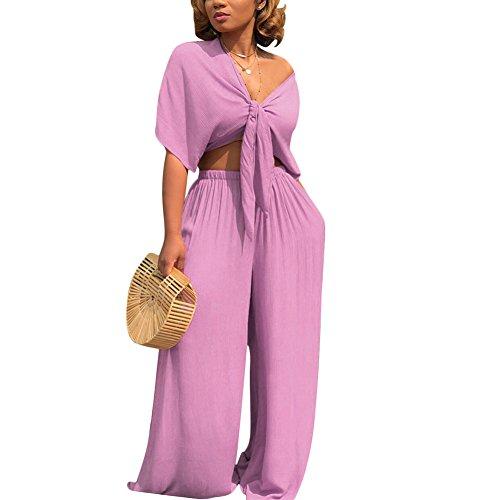 Aro Lora Women's 2 Piece Outfit Jumpsuit Short Sleeve V Neck Tie up Crop Top Wide Leg Pant Set Romper Small Purple