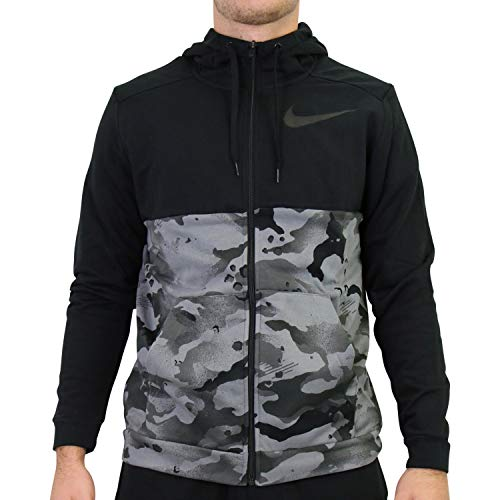 NIKE Sudadera con Capucha para Hombre Dry Full Zip FA Camo, Hombre, Sudadera con Capucha., CU6048, Negro/Gris/Gris., Extra-Large