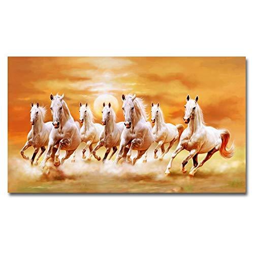 Moderne Zeven Rennende Paarden Canvas Schilderij Wall Art Poster En Prints Foto Woondecoratie Voor Woonkamer_50x90cm