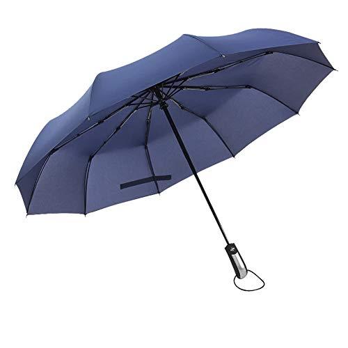 Fablcrew Automatischer Regenschirm Sonnenschirm Kunststoff durchsichtig Taschenschirm automatischem Knopf Sturmfest klein leicht kompakt windsicher stabil Schirm Size 105cm (Navy-A)