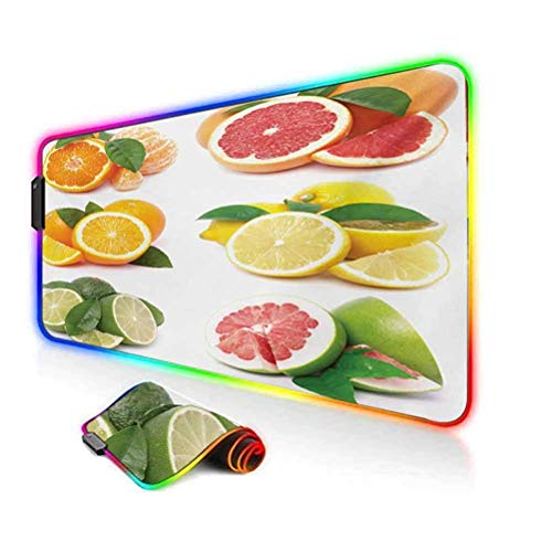 RGB Gaming Mouse Pad Mat,Orange Citrus Lemon Slice Mix Refreshment Healthy Natural Tropical Exotic Computer Keyboard Desk Mat,35.6'x15.7',for Game Players,Office,Study Orange Lime Green Red