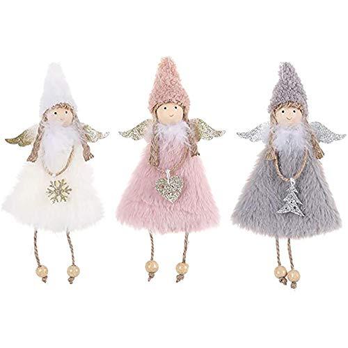 Chytaii 3 colgantes navideños con forma de ángel para colgar en la muñeca, de peluche, para árbol de Navidad, rosa, blanco y gris