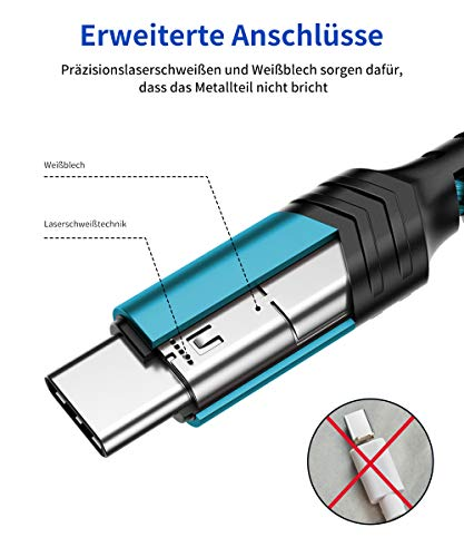 JSAUX USB C Kabel [2 Stück 2M ] Nylon Typ C Ladekabel für Samsung Galaxy S10 S9 S8 Plus,Note 10 9 8,A3 A5 2017,LG G5 G6 V20,HTC 10 U11,Sony Xperia XZ Xa1, Huawei P30 P20 Mate 20 Lite P10 P9 usw (Grün)