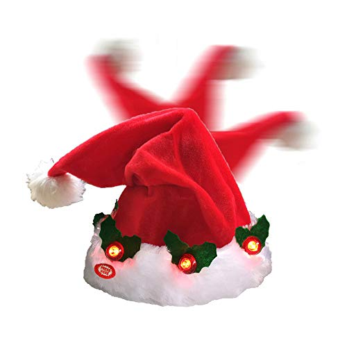 Funny Singing Dancing LED Light Santa Hats,Crazy Christmas Party Hat Adult Kids