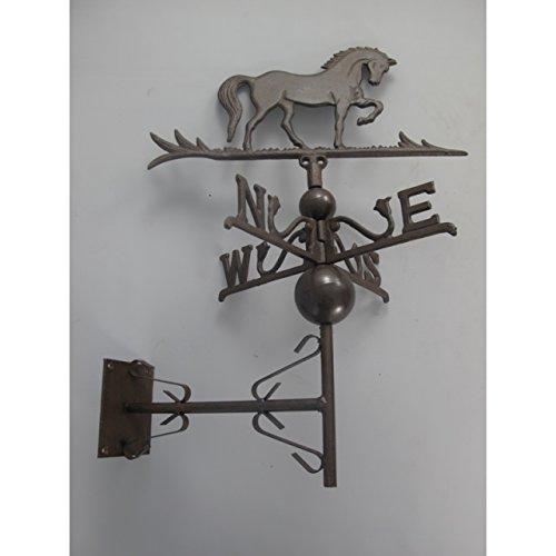 GR Nostalgie Wetterhahn Pferd Eisen zur Wandmontage braun Wetterfahne Windfahne Antik Stil