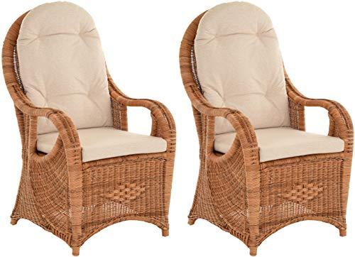 Lot de 2 chaises élégantes à dossier haut avec dossier extra haut en rotin naturel