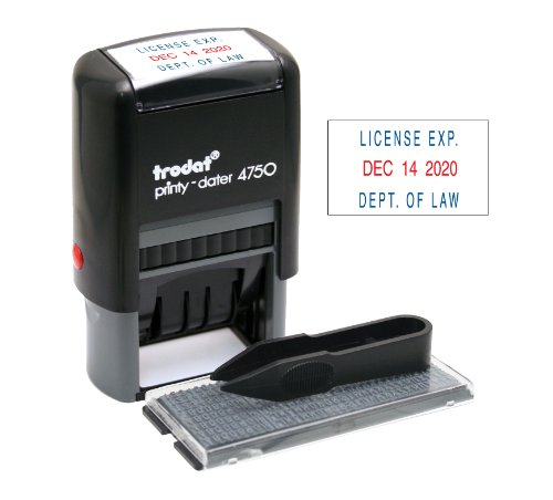 Trodat Printy Economy SelfInking Do It Yourself Message Date Stamp Stamp Impression Size: 1 x 15/8 Inches Blue/Red 5916