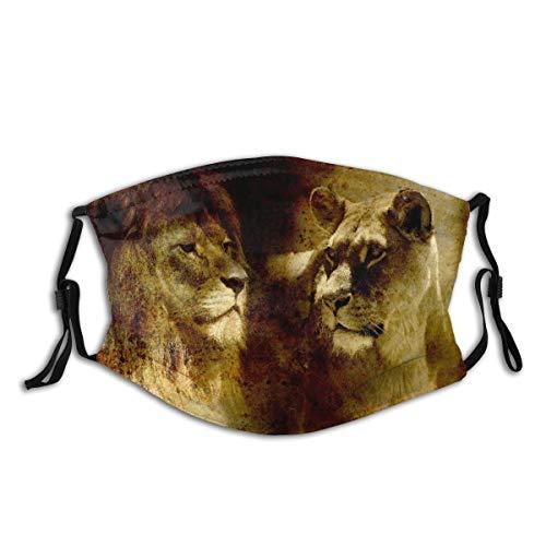 NANITHG Gesichtsbedeckung,Löwenpaar Löwe und Löwin auf abstraktem Strukturiertem Hintergrund,Winddicht Staubschutz Mund Bandanas Outdoor Camping Motorrad Running Neck Gamasche Mit 2 Filtern