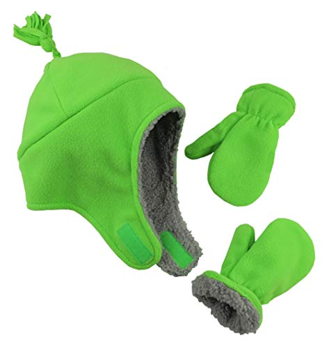 N'Ice Caps Boys Sherpa Lined Micro Fleece Pilot Hat and Mitten Set (Neon Green, 2-3 Years)
