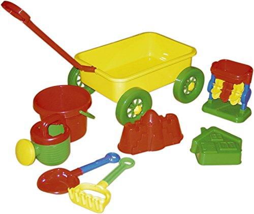 Bieco 06000029 - Sandspielzeug Set mit Nachziehwagen, ca. 70 cm und Zubehör, 8 teilig