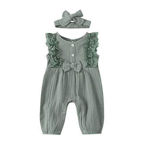 WAo Baby Unisex Leinen Strampler Langarm Body aus Strampler Jumpsuit Overall Stirnband Outfits Anzug Pyjama 0-24M