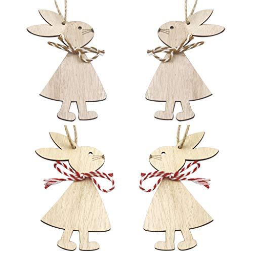 Coniglietto pasquale (Mr & Mrs Bunny Rabbit Confezione da 4) ciondolo in legno per decorazione pasquale in legno da appendere, coniglio, coniglio, uova, decorazione pasquale, per Pasqua e primavera