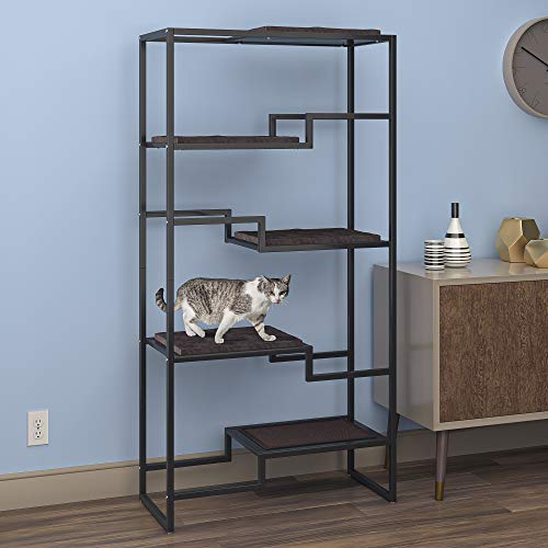 THE REFINED FELINE Metropolitan Cat Condo, Modern Furniture for Multiple Cats, Stepped Platforms for...