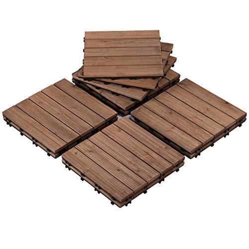 Yaheetech Patio Deck Tiles Interlocking Wood Composite Decking Floor Tiles 12 x 12'' Fir Wood Indoor Outdoor Natural Wood 110pcs