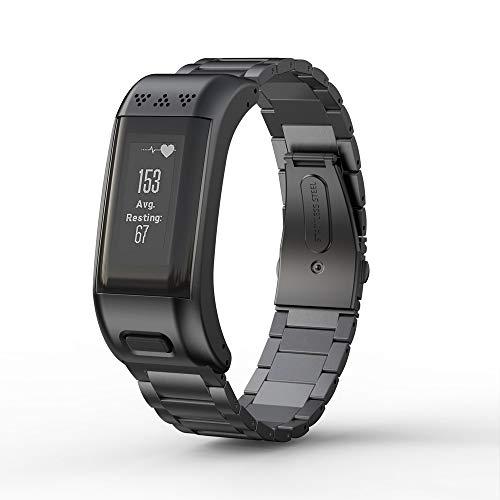WIIKAI - Correa de repuesto para Garmin VIVOsmart HR+, correa de reloj de acero inoxidable compatible con Garmin VIVOsmart HR+(negro)