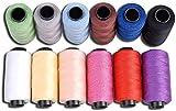 Set de bobinas de hilo de coser Jeans de Candora, de poliéster, 12colores, 165m, muy grueso de coser sobre tela vaquera, colcha, manta, cojín, cortina, manualidades