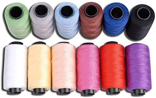 Candora® - set di filo da cucito per jeans, in poliestere, 12bobine colorate, 165m, filo molto spesso per denim, cuoio, trapunte, coperte, cuscini, tende, per lavoro manuale
