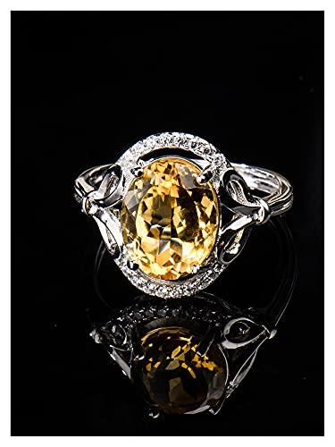 YSJJLRV Pierre Brute Citrine Naturelle, Cristal Jaune 925 joyau d'argent Sterling 925 pour Femmes, Cadeaux pour Femmes, Mariage de fiançailles, (Gem Color : Yellow, Metal Color : Platinum Plated)