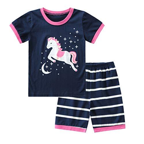 Baby Jungen Kleidung Set Kurzarmshirt Basic Shorts Zweiteilig Anzug Kleinkind Kinder Cartoon Pferde Kurzarm T-Shirts Tops Shorts Pyjamas Outfits Sommerkleidung, Marine, 4-5 Jahre