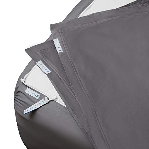 "QuickZip Fitted Sheet - Includes 1 Fitted Sheet Base & 2 Zip-On Sheets - Easy to Change, Won't Pop Off King Sheet - Soft Percale 400 TC Cotton Fitted Sheets – 17.5"" Deep Pockets King – Slate Gray"