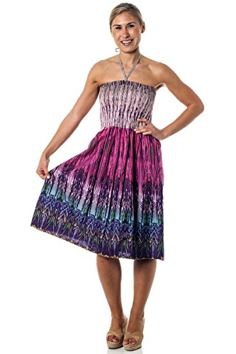 One-Size-fits-Most Tube Dress/Coverup - Tribal Sparks Pink