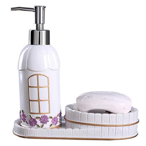 Tingting1992 Dispensador de jabón para baño Juego de dispensador de jabón líquido de cerámica Blanca y Caja de jabón Decoración de baño Fresca y Elegante Dispensador de jabón de Cocina (Color : B)