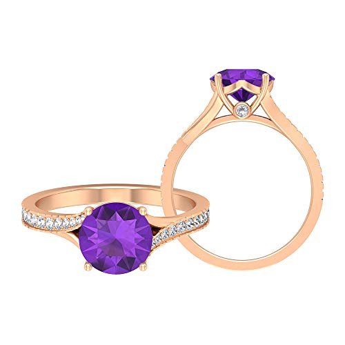 2.07 CT Solitaire Amethyst Ring, D-VSSI Moissanite Wedding Ring, 8 MM Round Cut Engagement Ring, Gold Bypass Ring, 18K Rose Gold, Size:UK X
