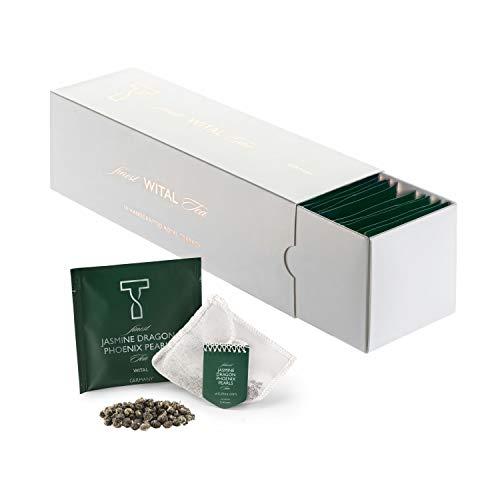 WITAL TEE - JASMINE DRAGON PHOENIX PEARLS ORGANIC - Grüner tee - Ganze Blätter - 50 Plastikfreie Handgenähte Teebeutel aus reiner Baumwolle