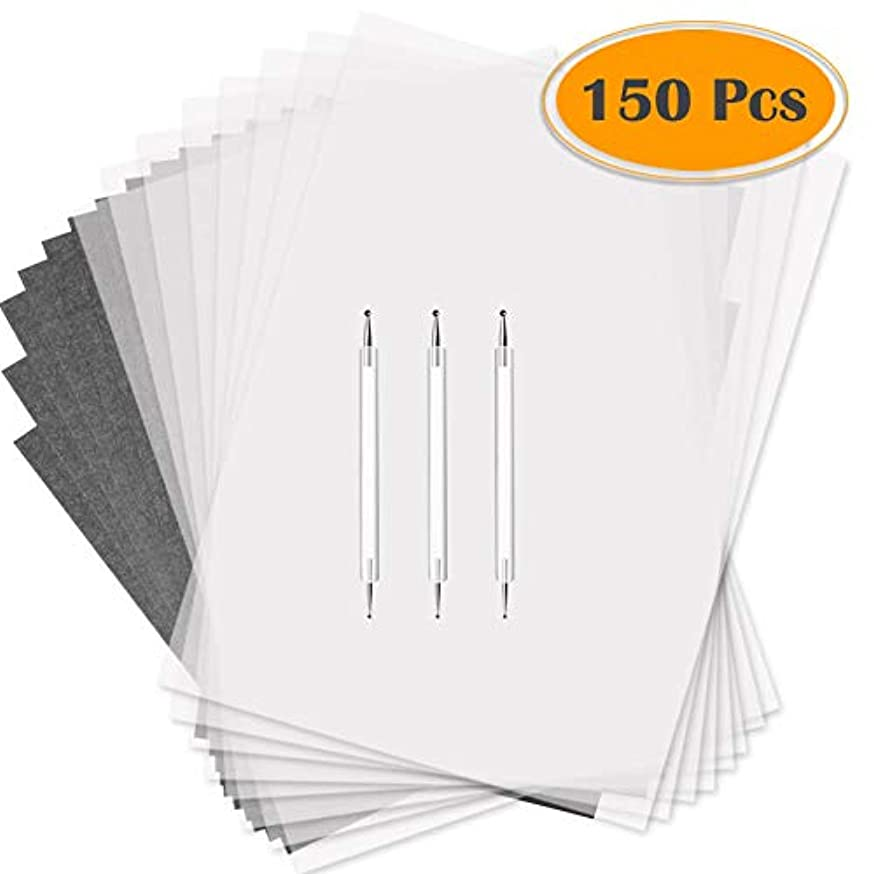 Selizo 150 Pcs Tracing Paper and Carbon Paper Black Graphite Transfer Paper with Tracing Stylus for Wood Burning Transfer, Wood Carving and Tracing