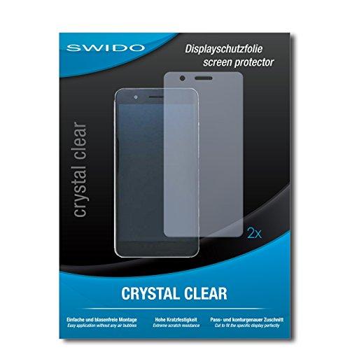 SWIDO Schutzfolie für Huawei Honor 6X [2 Stück] Kristall-Klar, Hoher Härtegrad, Schutz vor Öl, Staub und Kratzer/Glasfolie, Displayschutz, Displayschutzfolie, Panzerglas-Folie