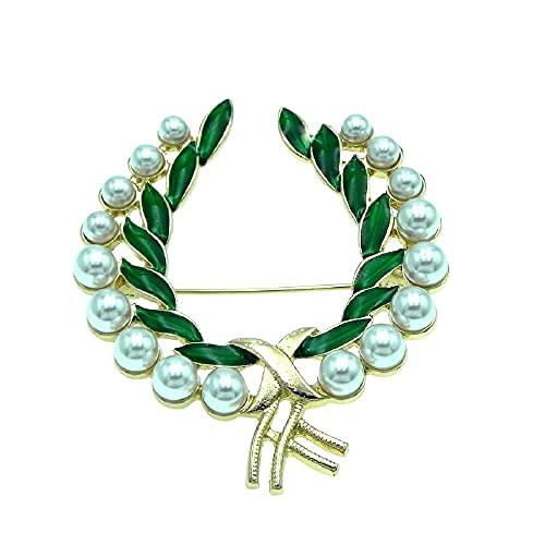 Collar de joyería retro verde hoja perla flor anillo enamerge con accesorios de traje de pecho