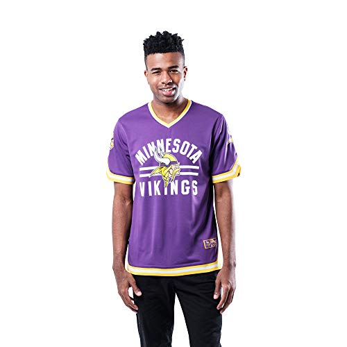 Ultra Game NFL Minnesota Vikings Mens Standard Jersey V-Neck Mesh Stripe Tee Shirt, Team Color, X-Large
