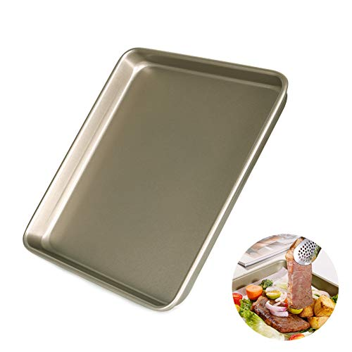 Super Thick Nonstick Cookie Sheet Pan, Rectangular Carbon Steel Baking Pan for Oven Roasting Meat Bread Jelly Roll Brownie Pizzas Pastries, Oven & Dishwasher Safe (9inch)