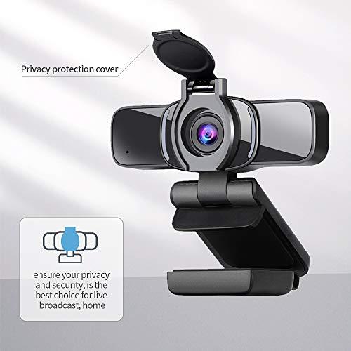 Dericam HD 1080P Webcam mit Mikrofon, USB Webcam mit Datenschutzabdeckung, Computerkamera für Skype, Videoanrufe, Konferenzen, Aufzeichnung, Streaming, PC, Mac, Laptop