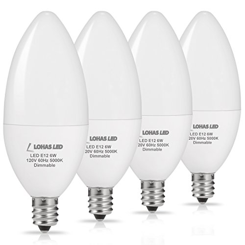LOHAS LED E12 Candelabra Base Bulbs, Dimmable LED 60W Equivalent Light Bulb, 6W LED Daylight Candelabra Bulb 5000K for Ceiling Fan Lights Chandelier Lighting, 550Lm Decorative Candle Base E12, 4Pack