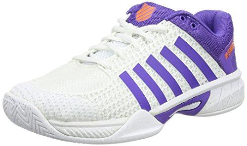 K-Swiss Performance Damen Express Light Tennisschuhe, Weiß (White/Purple/Orange), 41 EU