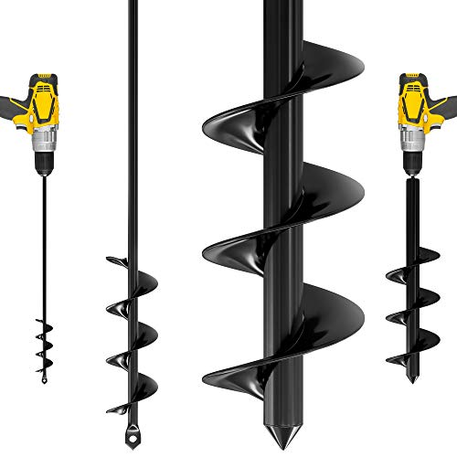 Auger Drill Bit for Planting – 1.6 x 16 and 3.5 x 16 Inch set - Garden Spiral Hole Drill Planter for Bulb Planting, Bedding Plants, Digging Weeds, Umbrella Holes- for 3/8'' Hex Drive Drill (2 Pack)