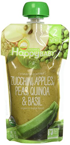 Happy Baby Organic Clearly Crafted Stage 2 Baby Food Zucchini Apples Peas Quinoa & Basil, 4 Ounce Pouch (Pack of 16) Resealable Baby Food Pouches, Fruit & Veggie Puree, Non-GMO Gluten Free Kosher