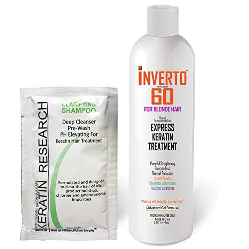 Traitement capillaire multifonctions à la kératine Inverto 60 pour cheveux blonds Kit de traitement à la kératine super rapide sans formaldéhyde offrant des cheveux brillants et sains en un instant