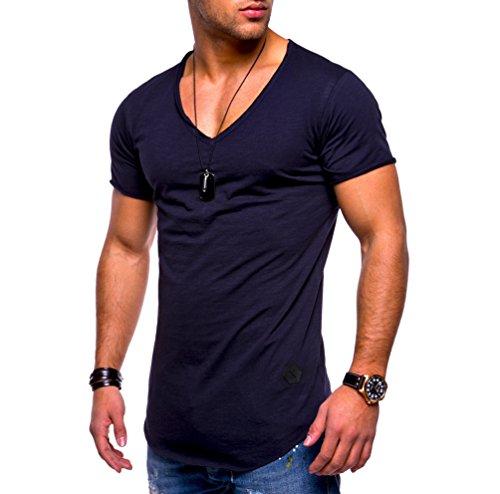 Ketamyy Hombre Color Puro Algodón V Cuello Sección Delgada Manga Corta Camiseta Azul Marino M