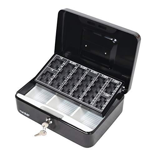 HMF 10022-02 Cassetta Portavalori con Vassoio Porta Monete e Banconote 25 x 18 x 9 cm , nero