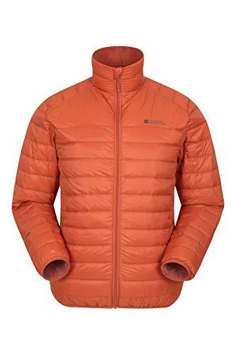 Mountain Warehouse Featherweight Daunenjacke für Herren - Leichte Winterjacke, Transportbeutel, wasserbeständige Regenjacke - Ideal für Camping Orange Large