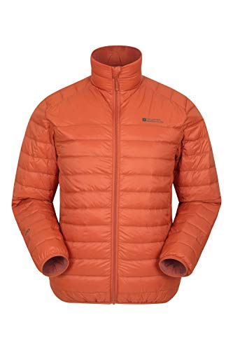 Mountain Warehouse Featherweight Daunenjacke für Herren - Leichte Winterjacke, Transportbeutel, wasserbeständige Regenjacke - Ideal für Camping Orange Large