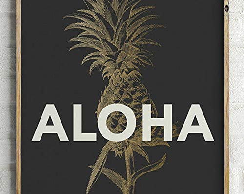 Aloha Pineapple Print - PRINTABLE FILE. Tropical Poster. Black Gold Bohemian Pineapple Poster. Hawaii Greeting. Typography Illustration. | Poster No Frame Board For Office Decor, Best Gift For Family