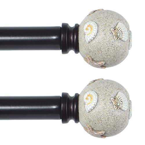 KAMANINA 6/8 Inch Curtain Rods, Shells Finials, 2 Pack, Red Bronze, 48-86 Inches Drapery Rod