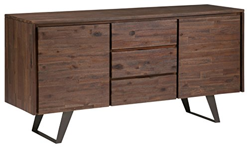 Simpli Home Lowry Solid Acacia Wood and Metal 60 inchWide Modern Industrial Sideboard Buffet in Distressed Charcoal Brown