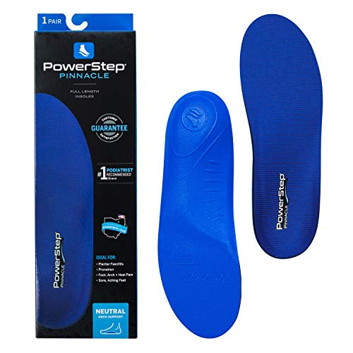 PowerStep Pinnacle, Signature Arch, Comfort Cushioning and Supportive Insoles with Shock Absorption for Neutral Arches, Men's 8-8.5 / Women's 10-10.5