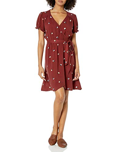 Amazon Brand - Goodthreads Women's Relaxed Fit Fluid Twill Faux Wrap Dress, Russet Floral, Small