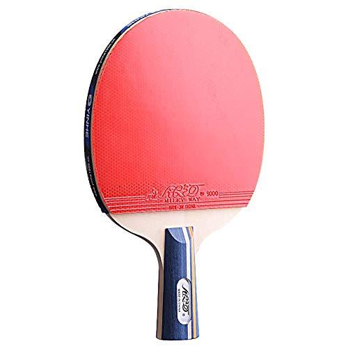 Lerten Palas de Ping Pong,Raquetas de Tenis de Mesa Mango CóModo Profesional Raqueta de Madera Maciza de 5 Capas Adecuada para Jugadores Principiantes/A/Mango corto